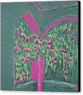 Green Patio Canvas Print by Marcia Meade
