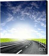 Green Sky Road Canvas Print by Boon Mee