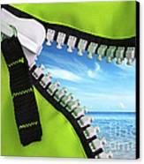 Green Zipper Canvas Print by Carlos Caetano