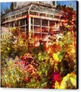Greenhouse - The Greenhouse And The Garden Canvas Print by Mike Savad