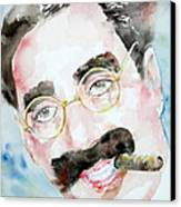 Groucho Marx Watercolor Portrait.2 Canvas Print by Fabrizio Cassetta