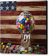 Gumball Machine And Old Wooden Flag Canvas Print by Garry Gay
