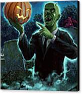 Halloween Ghoul Rising From Grave With Pumpkin Canvas Print by Martin Davey