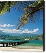 Hanalei Pier And Beach Canvas Print by M Swiet Productions