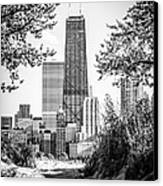 Hancock Building Through Trees Black And White Photo Canvas Print