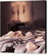 Handcuffs Ropes And Rose Petals On Bed Bdsm Sex Romantic Concept Canvas Print