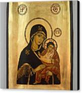 Handpainted Orthodox Holy Icon Madonna With Child Jesus Canvas Print by Denise Clemenco