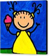 Happi Arte 3 - Little Girl Ice Cream Cone Art Canvas Print by Sharon Cummings