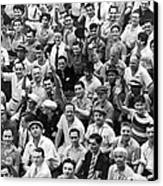 Happy Baseball Fans In The Bleachers At Yankee Stadium. Canvas Print by Underwood Archives