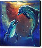 Happy Dolphins Canvas Print by Marco Antonio Aguilar