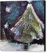 Happy Holidays Blue And Red Wishing Stars Canvas Print by Johane Amirault