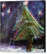 Happy Holidays Red And Blue Wishing Stars Canvas Print by Johane Amirault
