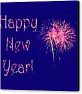 Happy New Year Fireworks Canvas Print by Marianne Campolongo