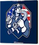 Happy Patriots Day God Bless America Retro Canvas Print