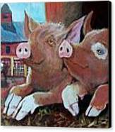 Happy Pigs Canvas Print by Dona Davis