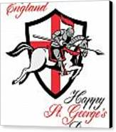 Happy St George Day A Day For England Retro Poster Canvas Print