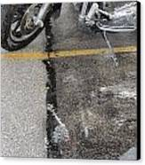 Harley Close-up Rain Reflections Tall Canvas Print by Anita Burgermeister