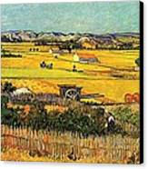 Harvest At La Crau With Montmajour In The Background Canvas Print by Vincent Van Gogh