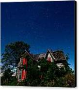 Haunted Farmhouse At Night Canvas Print