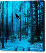 Haunting Dark Blue Surreal Woodlands With Crow  Canvas Print by Kathy Fornal