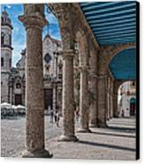 Havana Cathedral And Porches. Cuba Canvas Print by Juan Carlos Ferro Duque