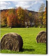 Hay Bales And Fall Colors Canvas Print by Christina Rollo