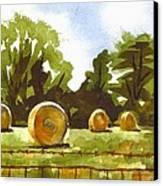 Hay Bales At Noontime  Canvas Print