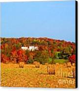 Hay Bales In A Quaker Fall Canvas Print by Matthew Peek
