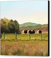 Hay Bales In The Cove Canvas Print by Joan Swanson