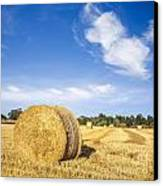 Hay Bales Under Deep Blue Summer Sky Canvas Print