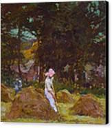 Haymaking  Canvas Print by Elizabeth Adela Stanhope Forbes