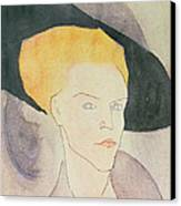 Head Of A Woman Wearing A Hat Canvas Print