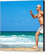 Healthy Man Running On The Beach Canvas Print