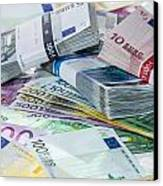 Heap Of Euro Bills Canvas Print by Handmade Pictures
