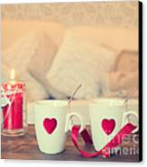 Heart Teacups Canvas Print