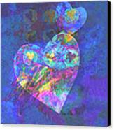Hearts On Blue Canvas Print by Ann Powell