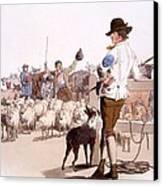 Herdsmen Of Sheep And Cattle, From The Canvas Print by William Henry Pyne
