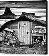 Herring Boat Hut Lindisfarne Monochrome Canvas Print by Tim Gainey