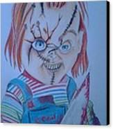 Hi I'am Chucky  Wanna Play Canvas Print by Denisse Del Mar Guevara