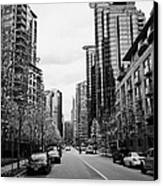 high rise apartment condo blocks in the west end west pender street Vancouver BC Canada Canvas Print by Joe Fox