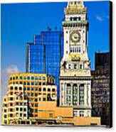 Historic Custom House Clock Tower - Boston Skyline Canvas Print by Mark E Tisdale
