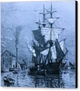 Historic Seaport Blue Schooner Canvas Print by John Stephens