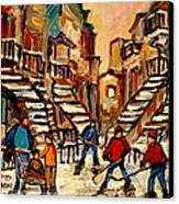 Hockey Game Near Winding Staircases Montreal Streetscene Canvas Print by Carole Spandau