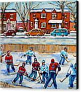 Hockey Rink At Van Horne Montreal Canvas Print by Carole Spandau