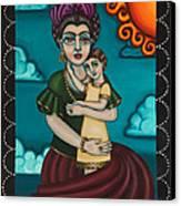Holding Diegito Canvas Print by Victoria De Almeida