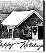 Holiday Barn Canvas Print by Joy Bradley