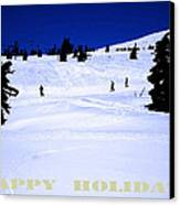 Holiday Skiers At Mt Hood  Oregon Canvas Print by Glenna McRae