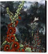 Hollyhocks Canvas Print by Lynette Yencho