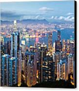 Hong Kong At Dusk Canvas Print