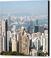 Hong Kong Harbor From Victoria Peak In A Sunny Day Canvas Print by Matteo Colombo